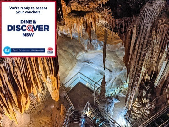 Redeem your free Dine & DISCOVER voucher, worth $25, towards the cost of a guided Orient cave tour.