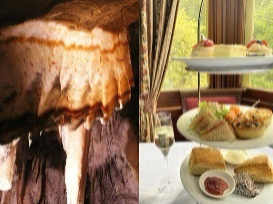 Every day, we serve delicious High Tea, upstairs in historic Jenolan Caves House hotel, in Chisolm's Restaurant - sweet treats, scones with jam and cream, trimmed sandwiches, savouries, and tea or coffee. Also, if you are of average fitness, you can experience a fascinating cave tour, as part of a small, exclusive group.